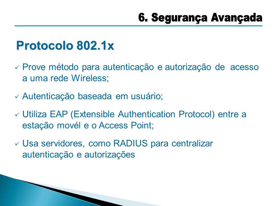 Protocolo 802.1x 6. Segurança Avançada