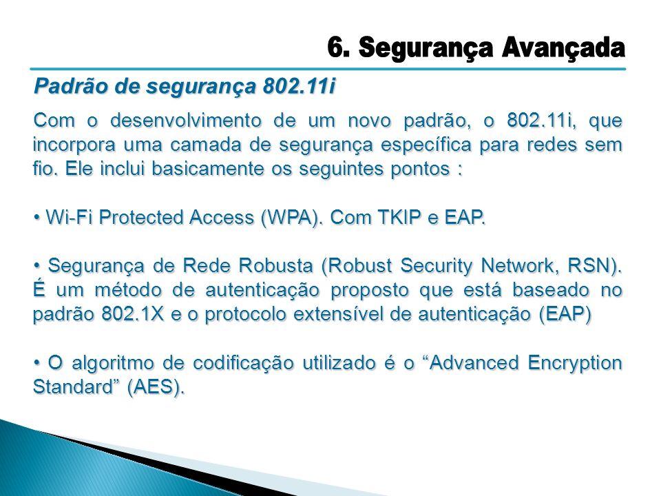 6. Segurança Avançada Padrão de segurança 802.11i