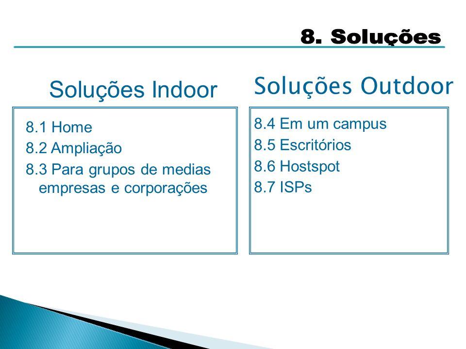 Soluções Indoor Soluções Outdoor 8. Soluções 8.4 Em um campus 8.1 Home