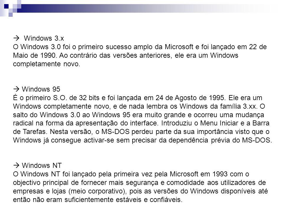  Windows 3.x O Windows 3.0 foi o primeiro sucesso amplo da Microsoft e foi lançado em 22 de Maio de 1990. Ao contrário das versões anteriores, ele era um Windows completamente novo.