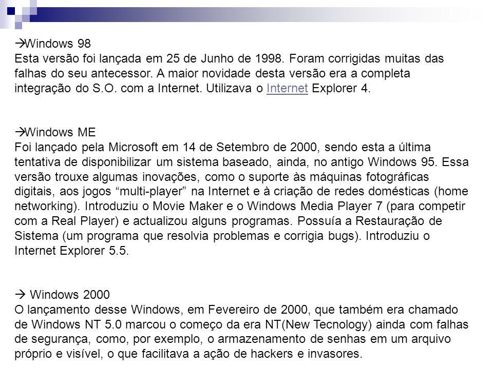 Windows 98 Esta versão foi lançada em 25 de Junho de 1998