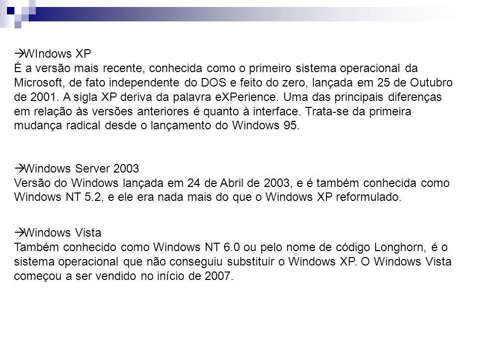 WIndows XP É a versão mais recente, conhecida como o primeiro sistema operacional da Microsoft, de fato independente do DOS e feito do zero, lançada em 25 de Outubro de 2001. A sigla XP deriva da palavra eXPerience. Uma das principais diferenças em relação às versões anteriores é quanto à interface. Trata-se da primeira mudança radical desde o lançamento do Windows 95.