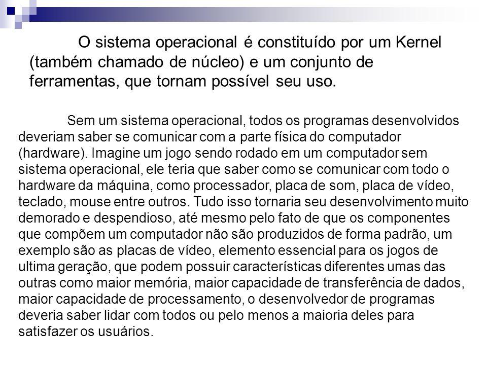 O sistema operacional é constituído por um Kernel (também chamado de núcleo) e um conjunto de ferramentas, que tornam possível seu uso.