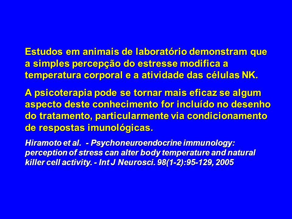 Estudos em animais de laboratório demonstram que a simples percepção do estresse modifica a temperatura corporal e a atividade das células NK.