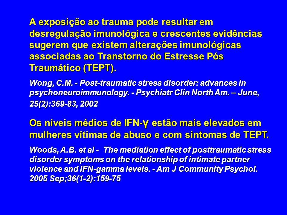 A exposição ao trauma pode resultar em desregulação imunológica e crescentes evidências sugerem que existem alterações imunológicas associadas ao Transtorno do Estresse Pós Traumático (TEPT).
