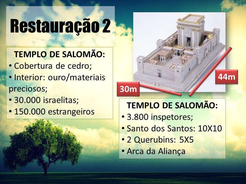 Restauração 2 TEMPLO DE SALOMÃO: Cobertura de cedro;