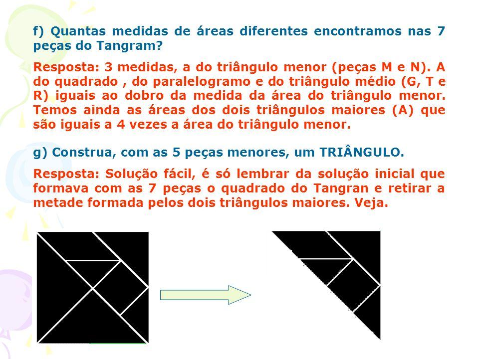 f) Quantas medidas de áreas diferentes encontramos nas 7 peças do Tangram