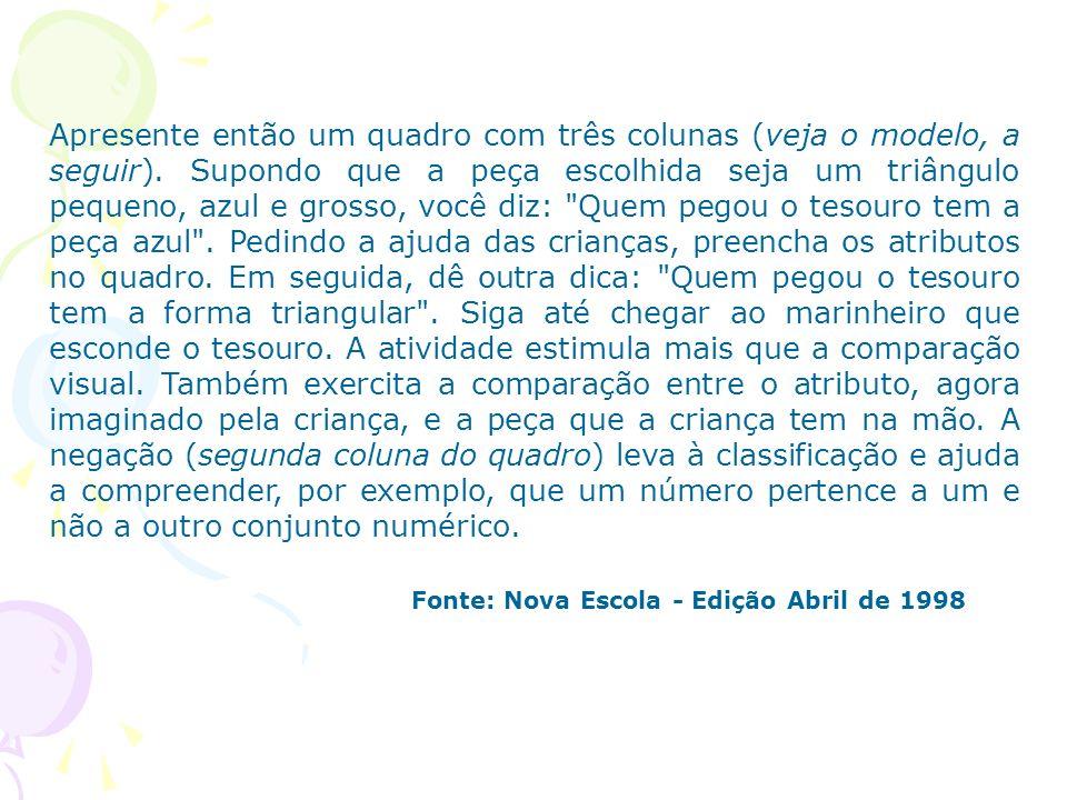 Fonte: Nova Escola - Edição Abril de 1998