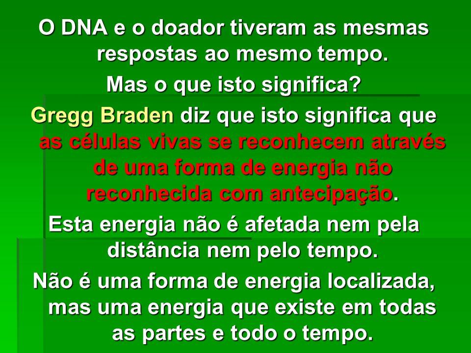 O DNA e o doador tiveram as mesmas respostas ao mesmo tempo.