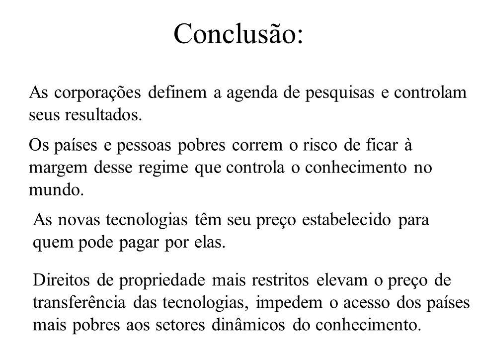 Conclusão: As corporações definem a agenda de pesquisas e controlam seus resultados.