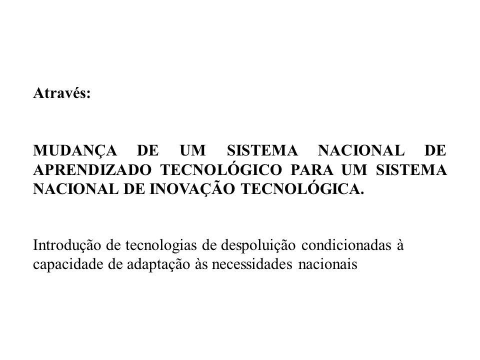 Através: MUDANÇA DE UM SISTEMA NACIONAL DE APRENDIZADO TECNOLÓGICO PARA UM SISTEMA NACIONAL DE INOVAÇÃO TECNOLÓGICA.