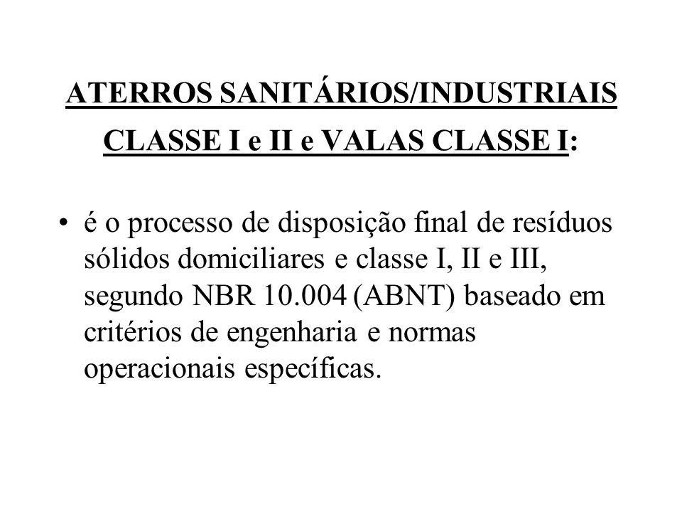 ATERROS SANITÁRIOS/INDUSTRIAIS CLASSE I e II e VALAS CLASSE I: