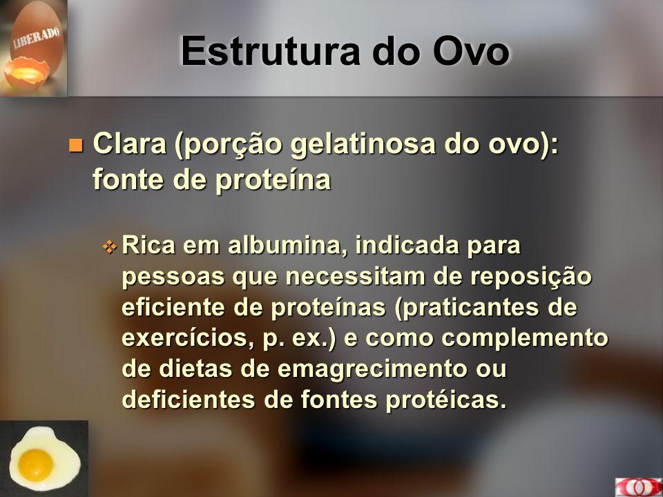 Estrutura do Ovo Clara (porção gelatinosa do ovo): fonte de proteína