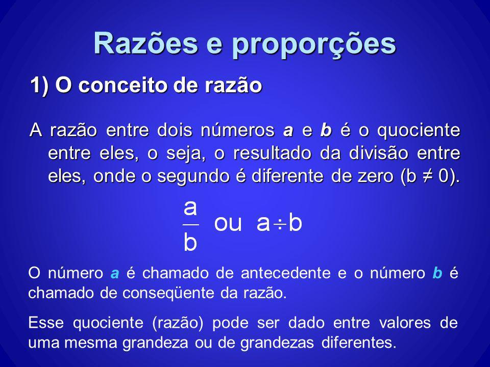 Razões e proporções 1) O conceito de razão
