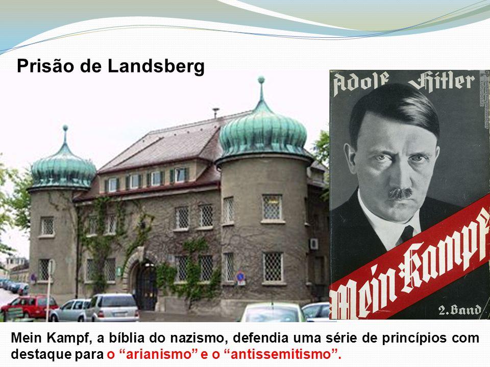 Prisão de Landsberg Mein Kampf, a bíblia do nazismo, defendia uma série de princípios com destaque para o arianismo e o antissemitismo .