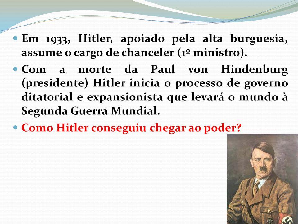 Em 1933, Hitler, apoiado pela alta burguesia, assume o cargo de chanceler (1º ministro).
