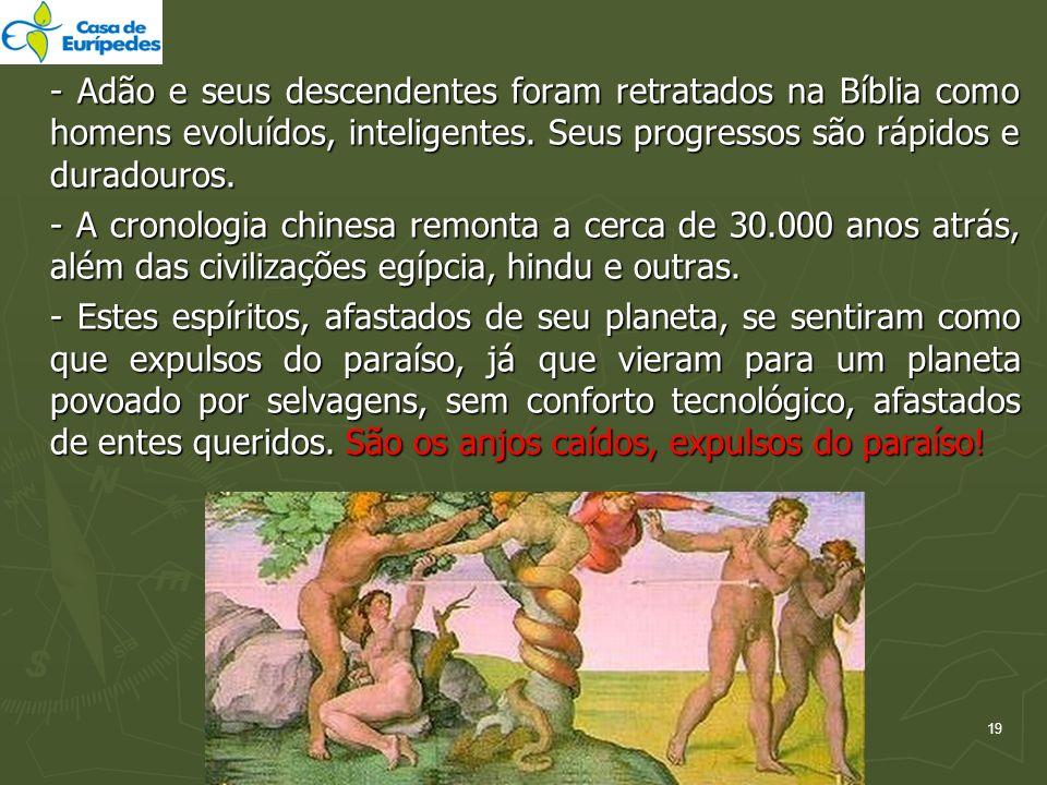 - Adão e seus descendentes foram retratados na Bíblia como homens evoluídos, inteligentes. Seus progressos são rápidos e duradouros.