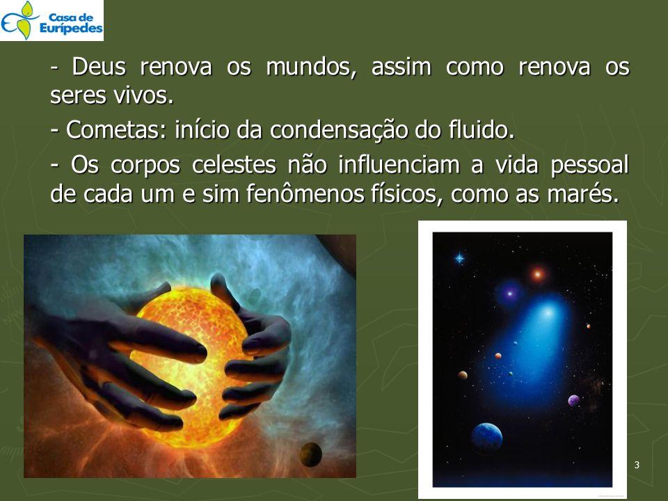 - Cometas: início da condensação do fluido.