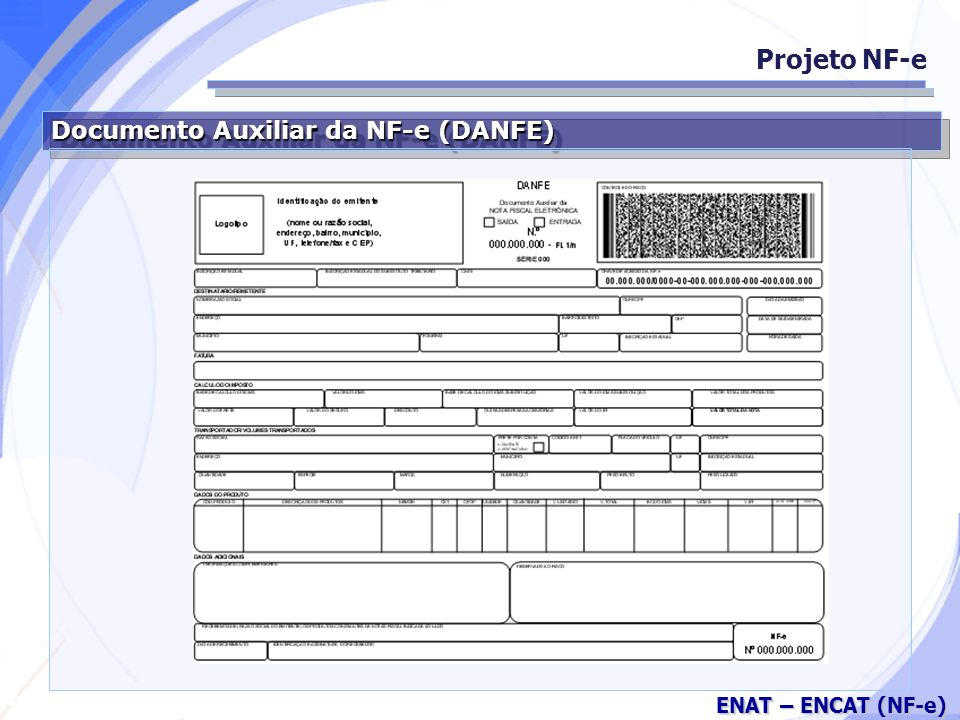 Projeto NF-e Documento Auxiliar da NF-e (DANFE)