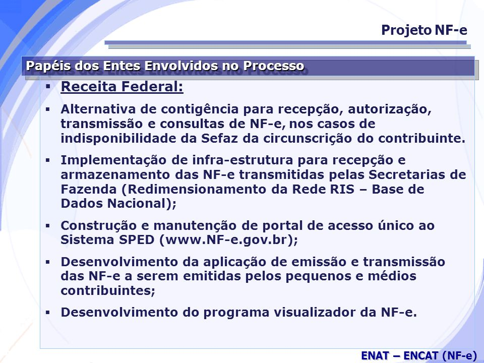 Projeto NF-e Receita Federal: Papéis dos Entes Envolvidos no Processo
