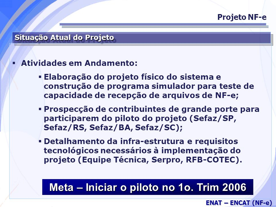 Meta – Iniciar o piloto no 1o. Trim 2006