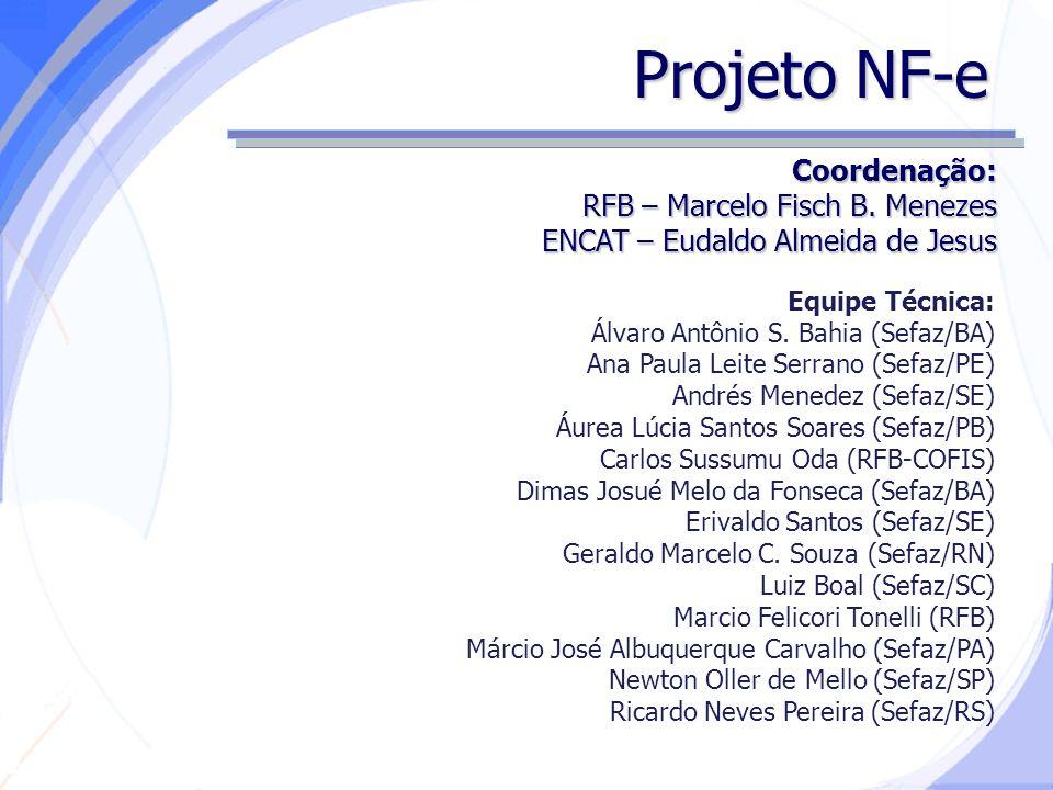 Projeto NF-e Coordenação: RFB – Marcelo Fisch B. Menezes
