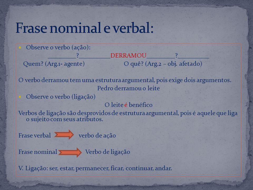Frase nominal e verbal: