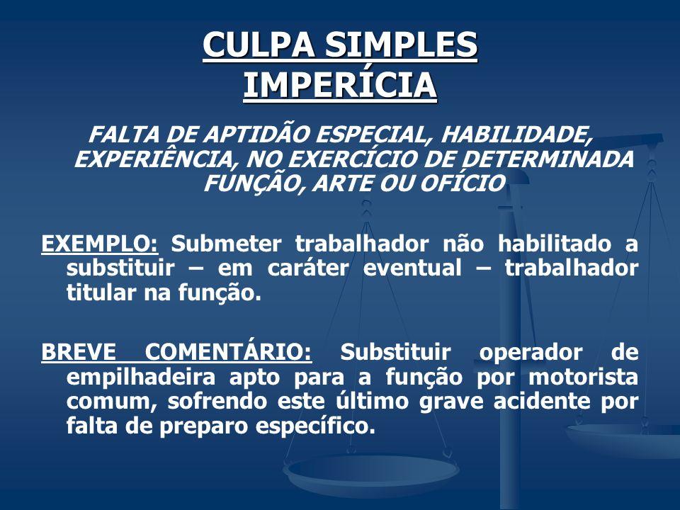 CULPA SIMPLES IMPERÍCIA