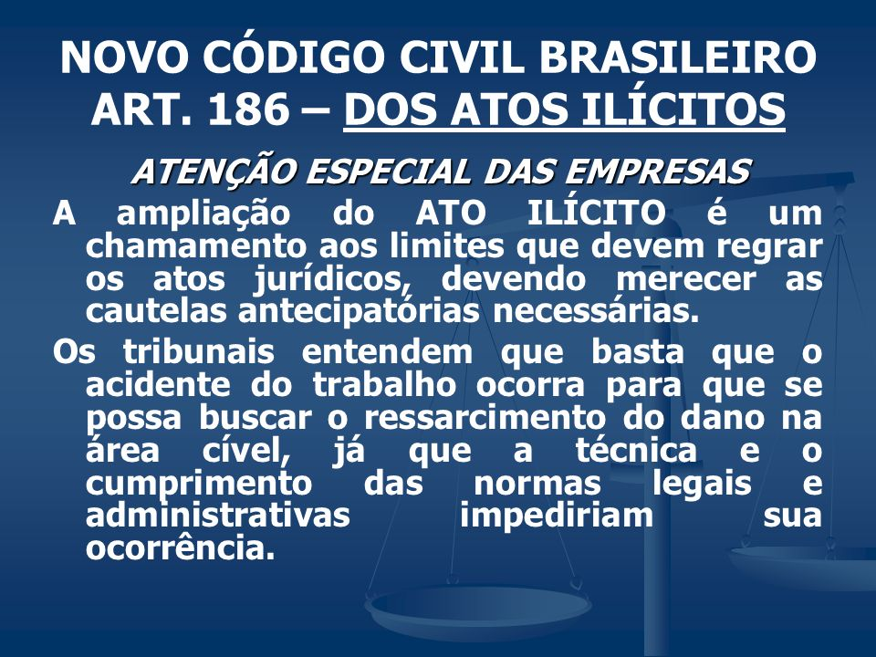 NOVO CÓDIGO CIVIL BRASILEIRO ART. 186 – DOS ATOS ILÍCITOS