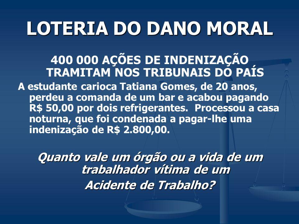 LOTERIA DO DANO MORAL 400 000 AÇÕES DE INDENIZAÇÃO TRAMITAM NOS TRIBUNAIS DO PAÍS.