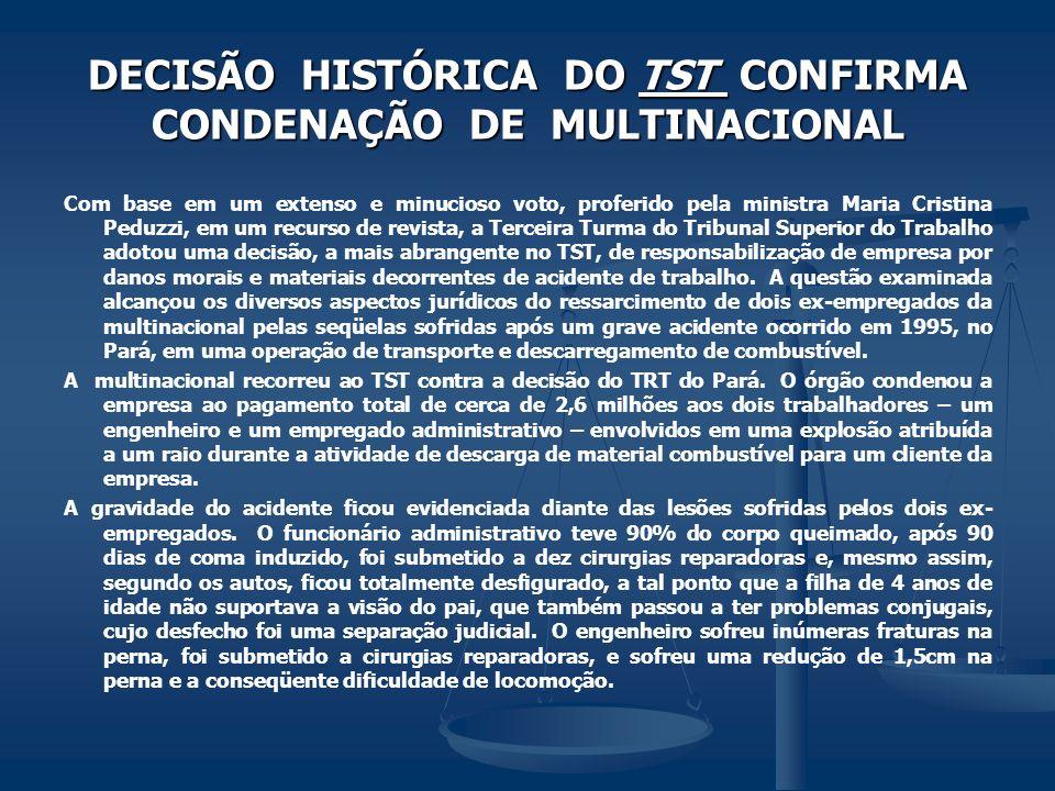 DECISÃO HISTÓRICA DO TST CONFIRMA CONDENAÇÃO DE MULTINACIONAL