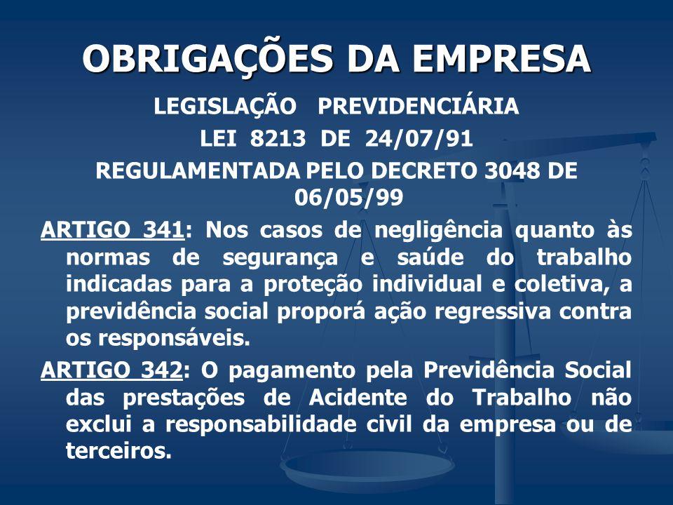 LEGISLAÇÃO PREVIDENCIÁRIA REGULAMENTADA PELO DECRETO 3048 DE 06/05/99
