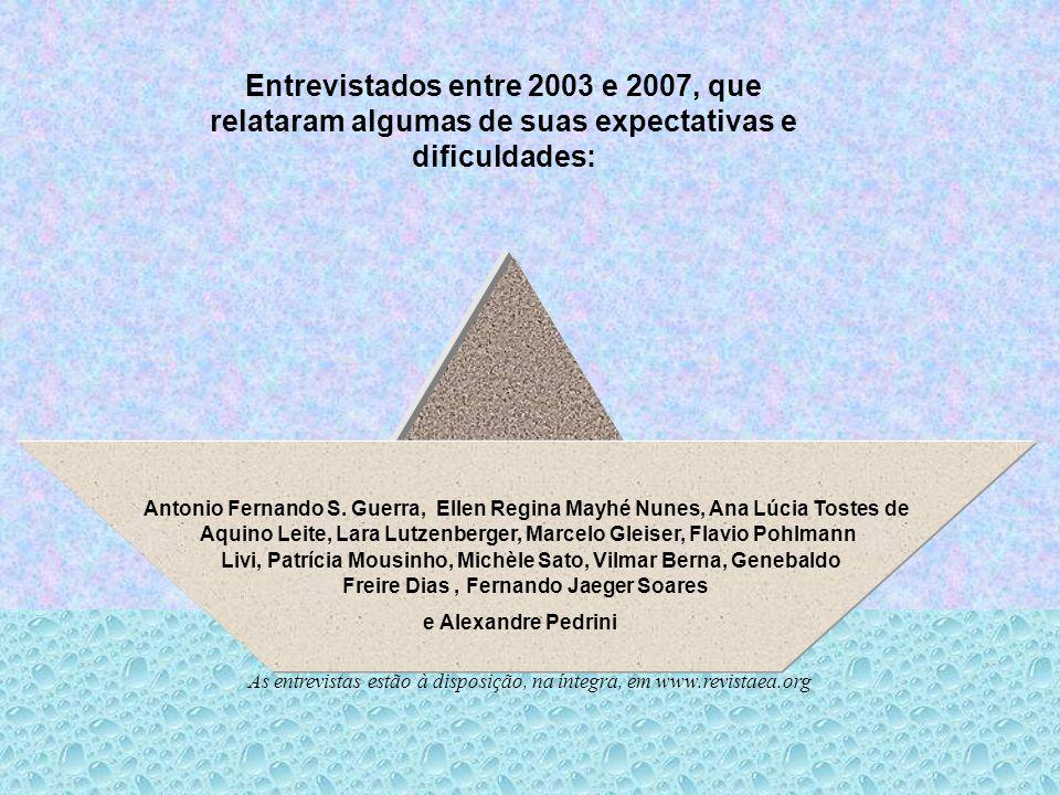 Entrevistados entre 2003 e 2007, que relataram algumas de suas expectativas e dificuldades: