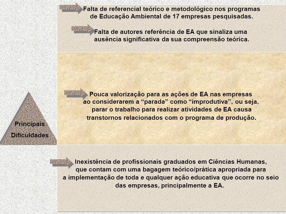 Falta de referencial teórico e metodológico nos programas