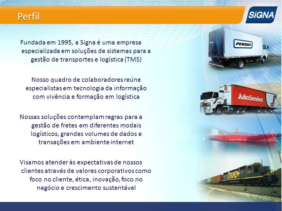 Perfil Fundada em 1995, a Signa é uma empresa especializada em soluções de sistemas para a gestão de transportes e logística (TMS)