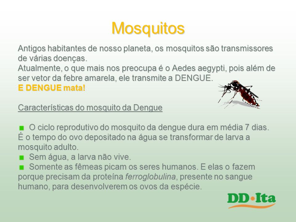 Mosquitos Antigos habitantes de nosso planeta, os mosquitos são transmissores. de várias doenças.