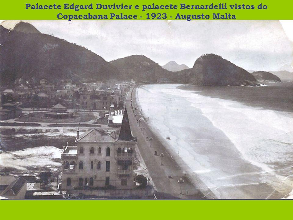 Palacete Edgard Duvivier e palacete Bernardelli vistos do Copacabana Palace - 1923 - Augusto Malta