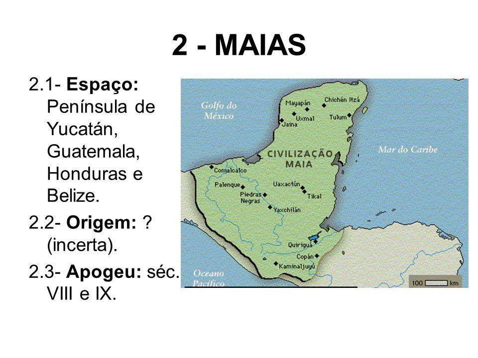 2 - MAIAS 2.1- Espaço: Península de Yucatán, Guatemala, Honduras e Belize. 2.2- Origem: (incerta).