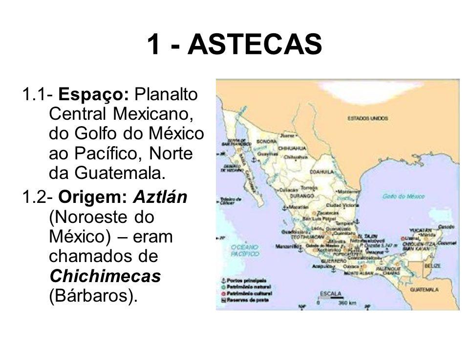1 - ASTECAS 1.1- Espaço: Planalto Central Mexicano, do Golfo do México ao Pacífico, Norte da Guatemala.
