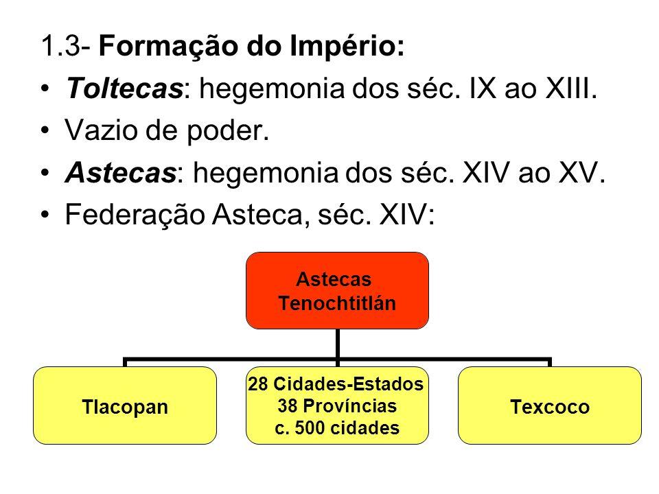 1.3- Formação do Império: Toltecas: hegemonia dos séc. IX ao XIII. Vazio de poder. Astecas: hegemonia dos séc. XIV ao XV.