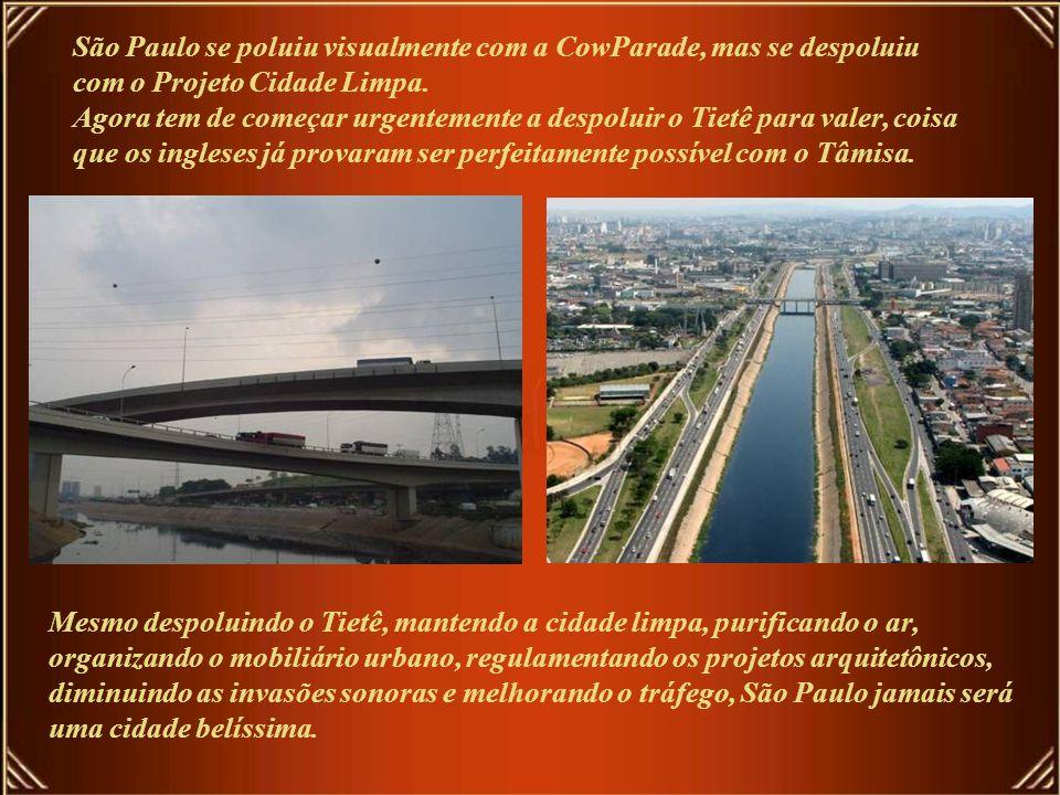 São Paulo se poluiu visualmente com a CowParade, mas se despoluiu com o Projeto Cidade Limpa. Agora tem de começar urgentemente a despoluir o Tietê para valer, coisa que os ingleses já provaram ser perfeitamente possível com o Tâmisa.