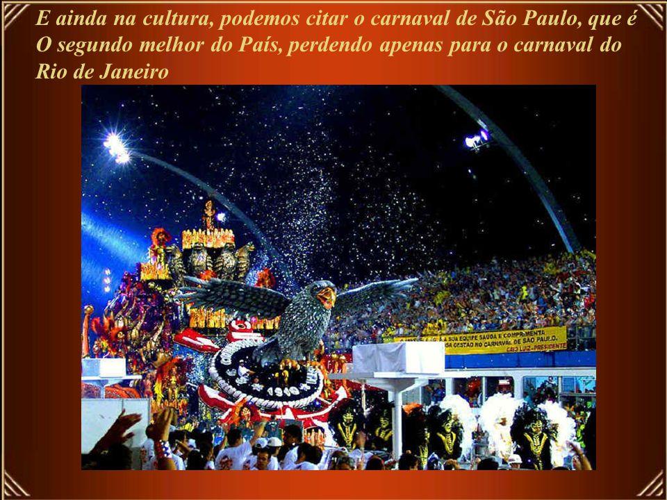 E ainda na cultura, podemos citar o carnaval de São Paulo, que é