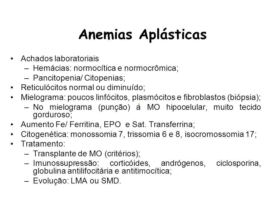 Anemias Aplásticas Achados laboratoriais