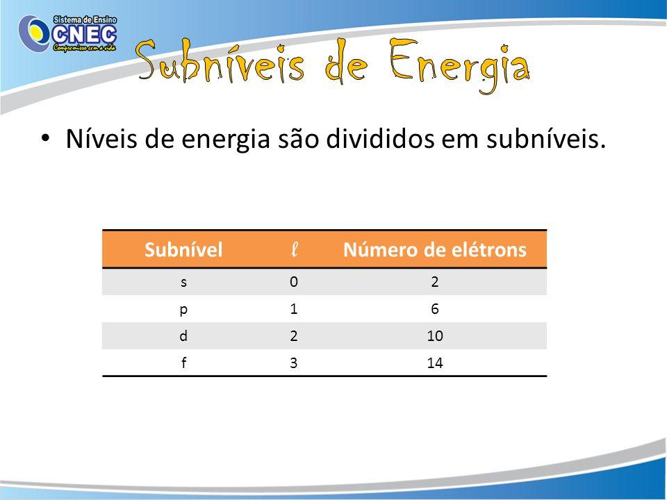 Subníveis de Energia Níveis de energia são divididos em subníveis. l