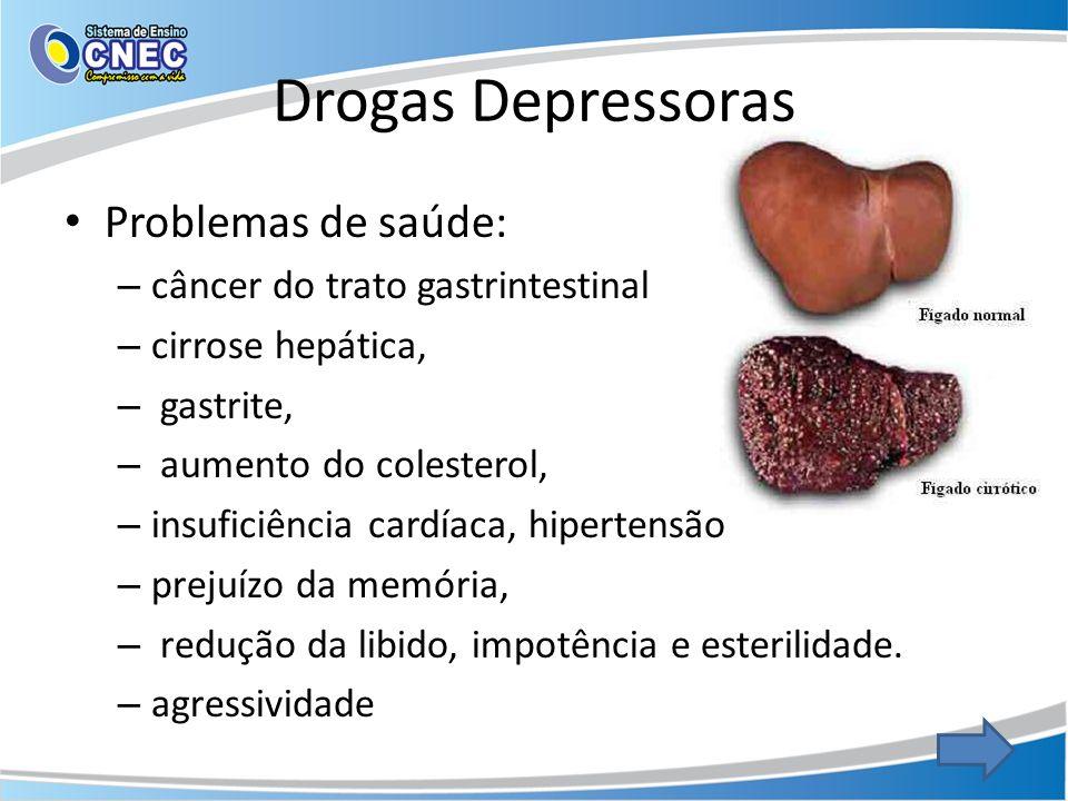 Drogas Depressoras Problemas de saúde: câncer do trato gastrintestinal