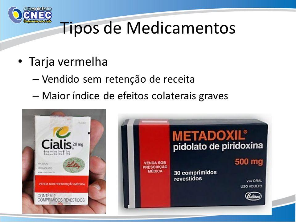 Tipos de Medicamentos Tarja vermelha Vendido sem retenção de receita