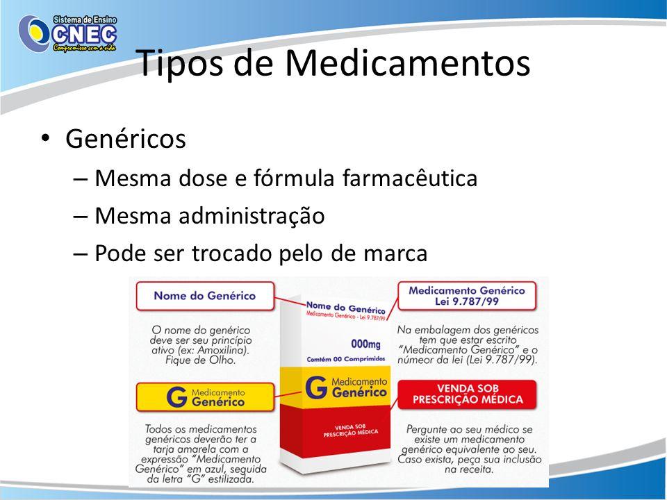 Tipos de Medicamentos Genéricos Mesma dose e fórmula farmacêutica