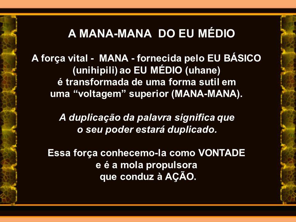 A MANA-MANA DO EU MÉDIO A força vital - MANA - fornecida pelo EU BÁSICO. (unihipili) ao EU MÉDIO (uhane)