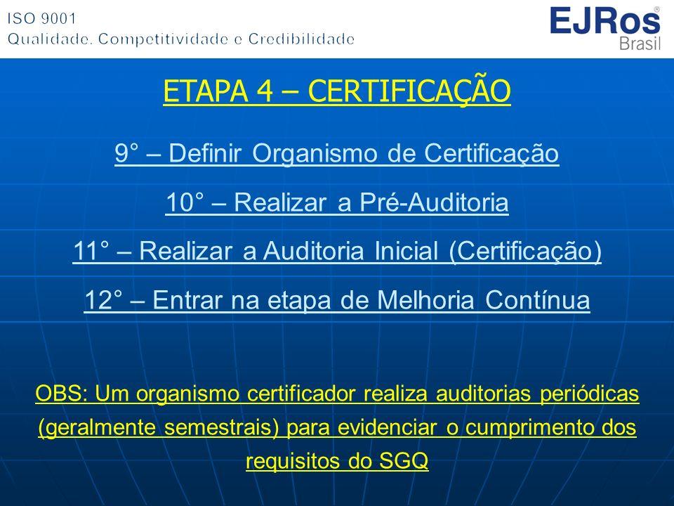 ETAPA 4 – CERTIFICAÇÃO 9° – Definir Organismo de Certificação