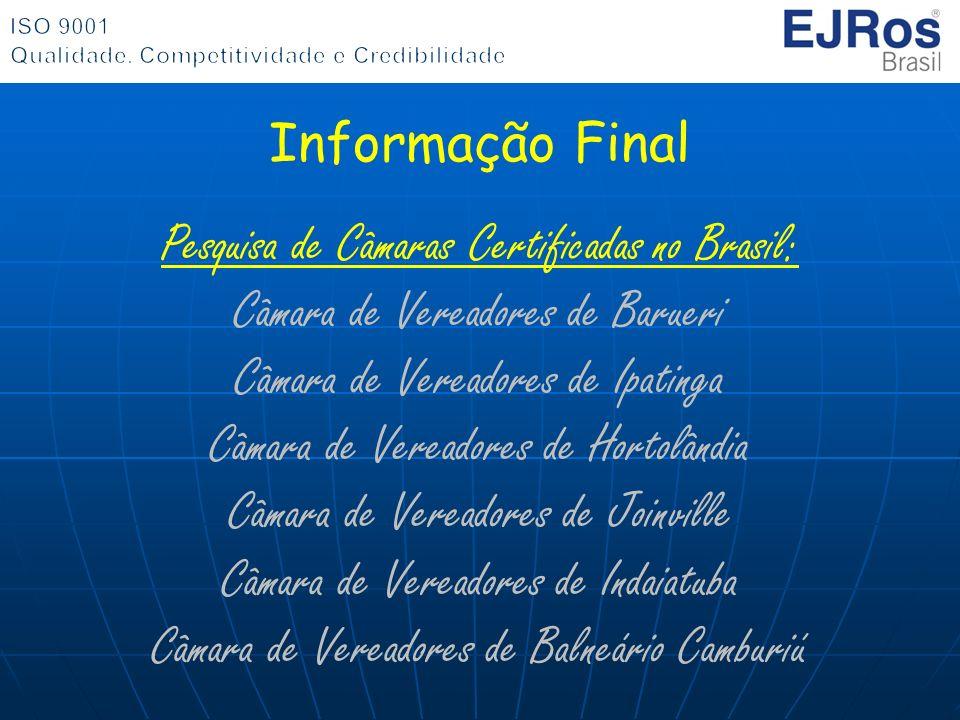 Pesquisa de Câmaras Certificadas no Brasil: